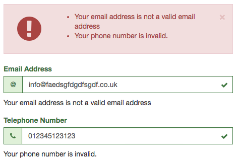 example of form validation conflict
