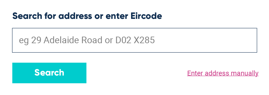 UI example of address lookup form for Ireland