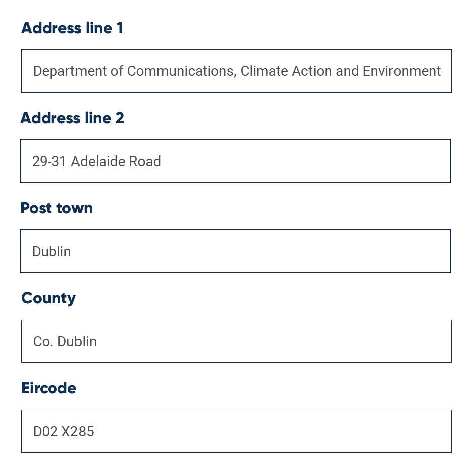 UI example of Irish address form, with fields filled in using address lookup API