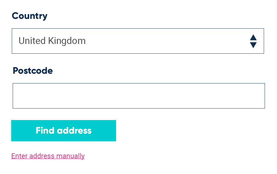 Initial form elements for postcode lookup UX pattern